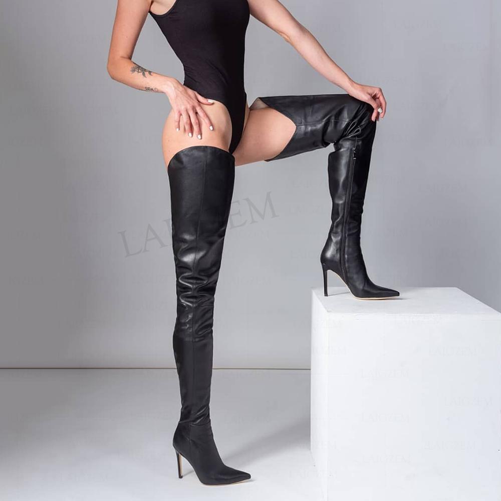 BERZIMER Women Thigh High Heels Boots