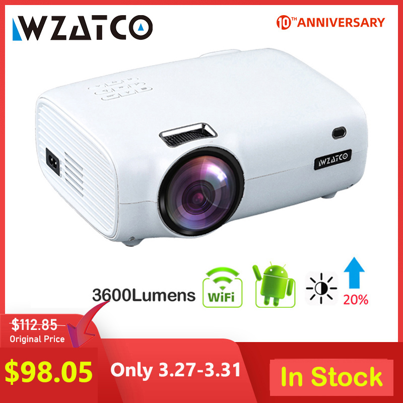 WZATCO E600 Android 9.0 Wifi Smart Portable Mini LED Projector HDMI Support Full HD 1080p 4K Video Home Theater Beamer Proyector