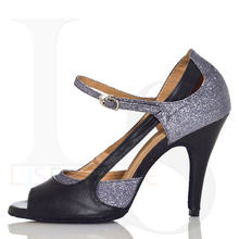 Zapatos de baile latino de satén de estilo Mary Jane para mujer, tacones altos populares para Tango, Salsa, Paso a Paso, cha-cha, Rumba, Jive ljsentation L003
