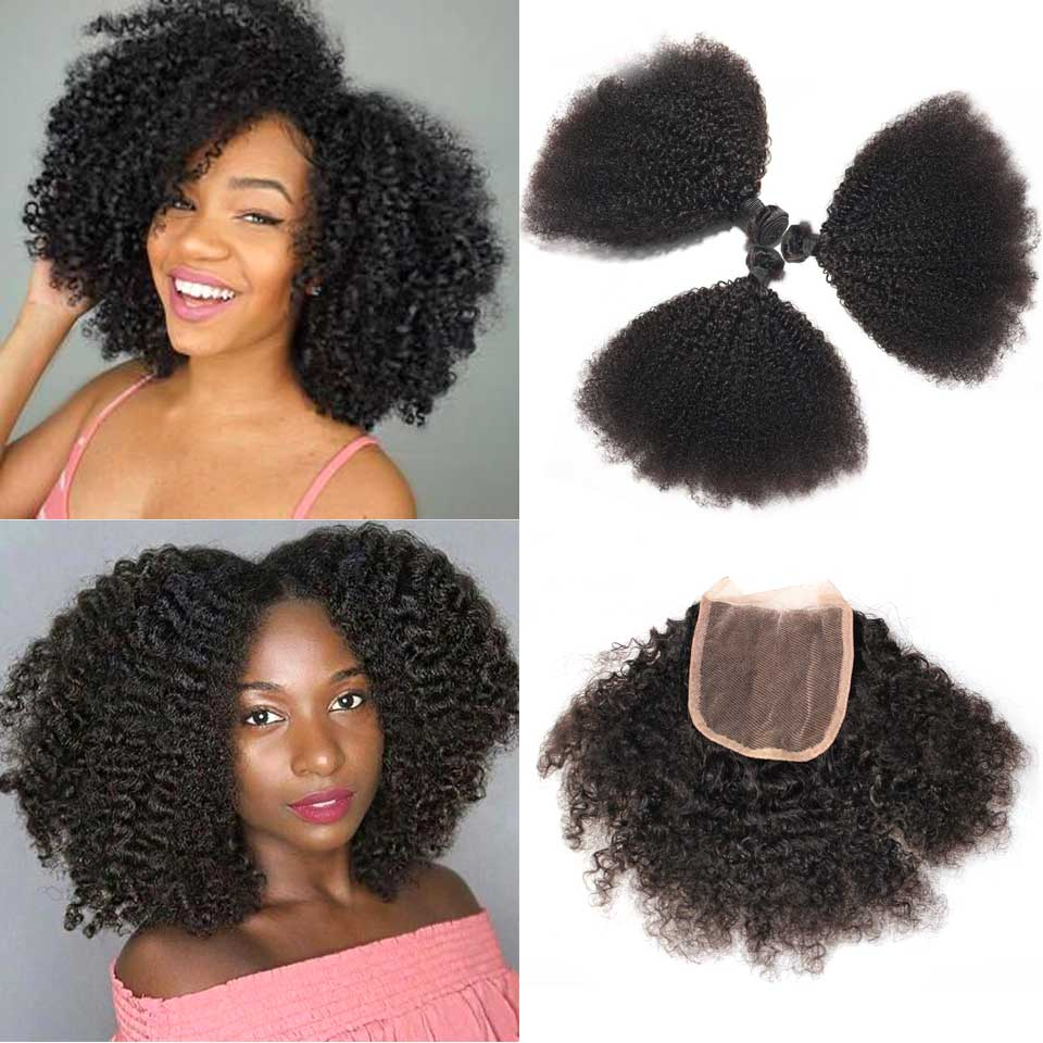 Brazilian Afro Kinky Curly Weave Human Hair 3 Bundles With 4x4 Lace Closure Non Remy Human  Hair Weave Bundles With Closure