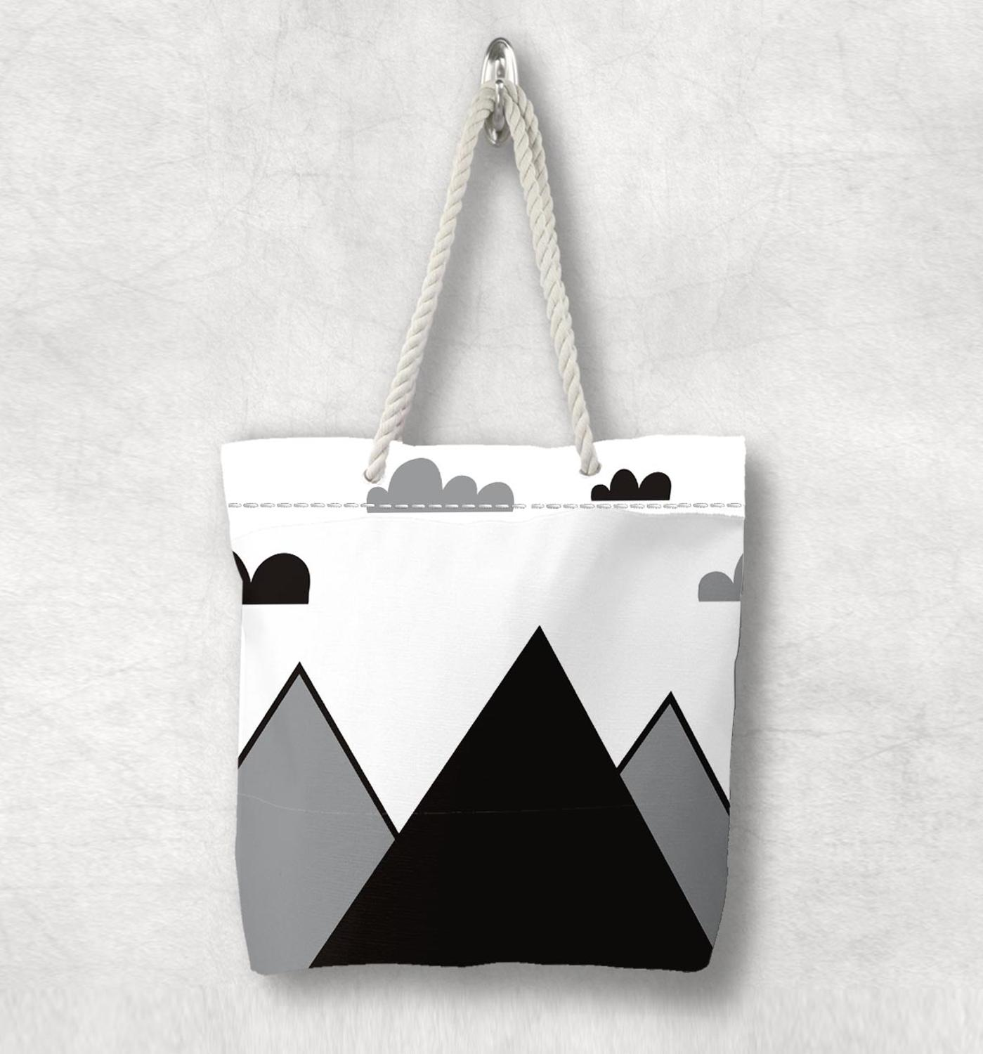 Else Gray Black Mountain Clouds Nordic Scandinavian White Rope Handle Canvas Bag  Cartoon Print Zippered Tote Bag Shoulder Bag