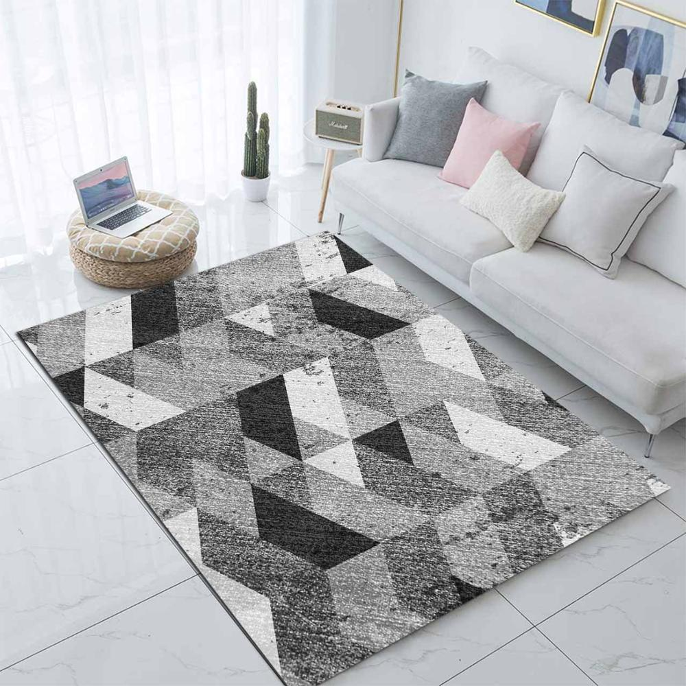 Else Gray Black White Geometrics Nordec Scandinav 3d Print Non Slip Microfiber Living Room Modern Carpet Washable Area Rug Mat