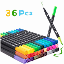 Ручки акварельные 36 цветов, двусторонние художественные маркеры с кисточками, канцелярские принадлежности, художественные ручки для рисов...