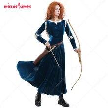 Merida cosplay traje princesa feminino adulto vestido festa de halloween longa roupa