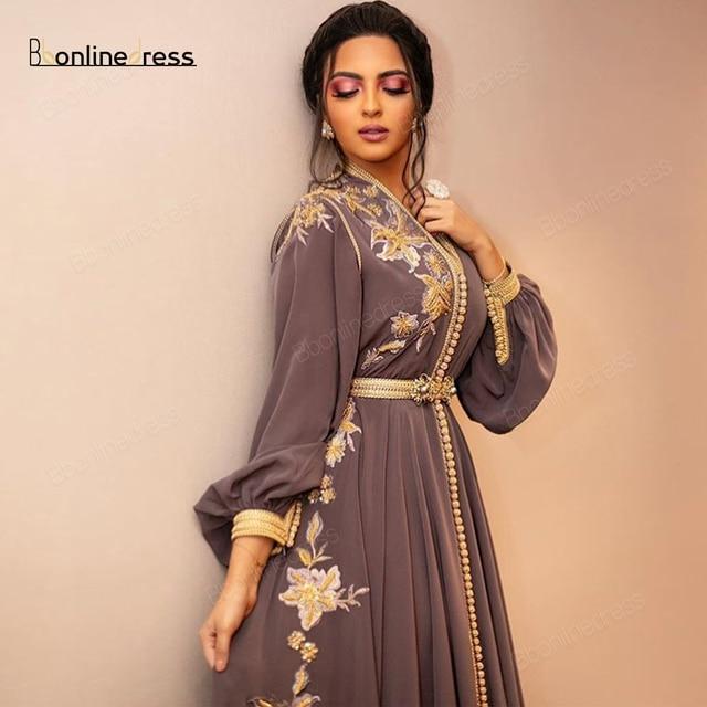 Bbonlinedress Moroccan Caftan Evening Dresses Embroidery Appliques Long Evening Dress Full Sleeve Arabic Muslim Party-Dress