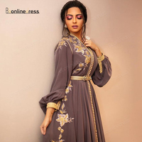 Bbonlinedress Moroccan Kaftan Evening Dresses Emboridery Appliques Long Evening Dress Full Sleeve Arabic Muslim Party Dress