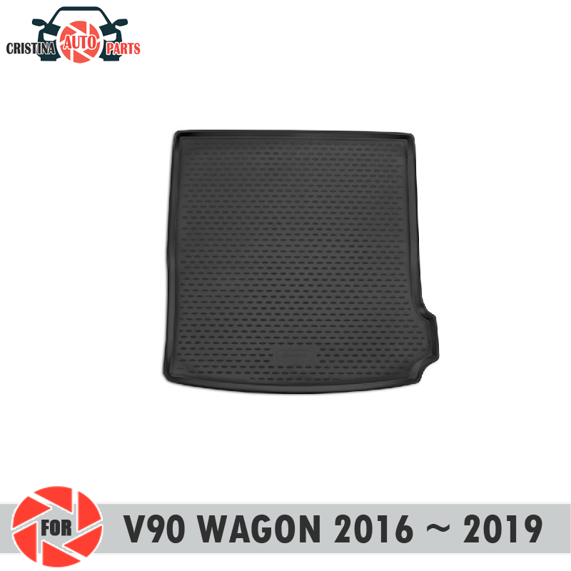 Trunk mat for Volvo V90 2016~2019 trunk floor rugs non slip polyurethane dirt protection interior trunk car styling