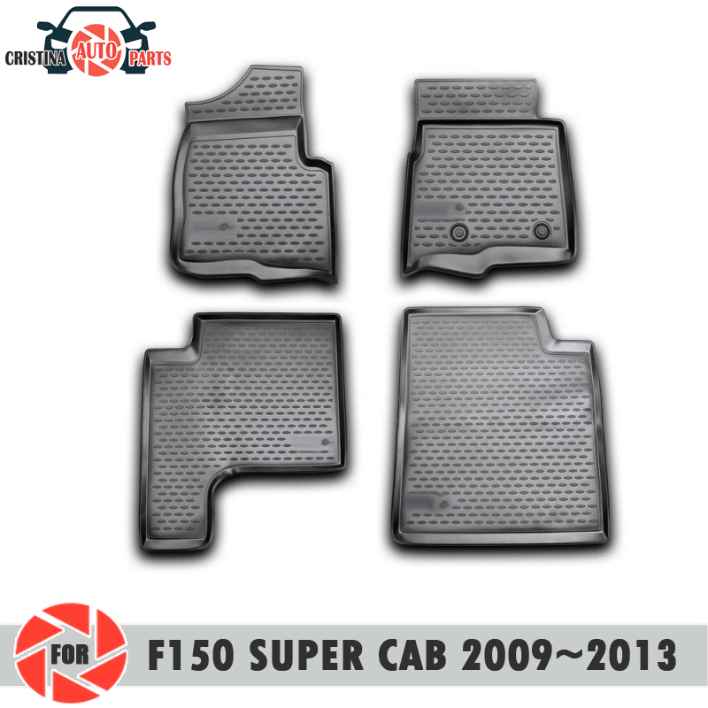 Floor mats for Ford F150 Super Cab 2009~2013 rugs non slip polyurethane dirt protection interior car styling accessories цена в Москве и Питере