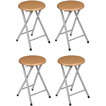Spanish chair folding stools made of Sluminio with finished wooden seat. Measurements 45x30x30 Camping Garden