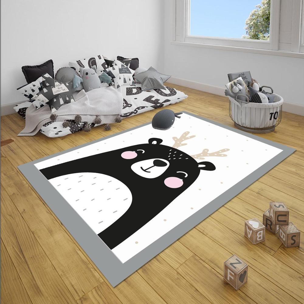 Else Gray White Black Deer Girl 3d Print Non Slip Microfiber Children Baby Kids Room Decorative Area Rug Mat