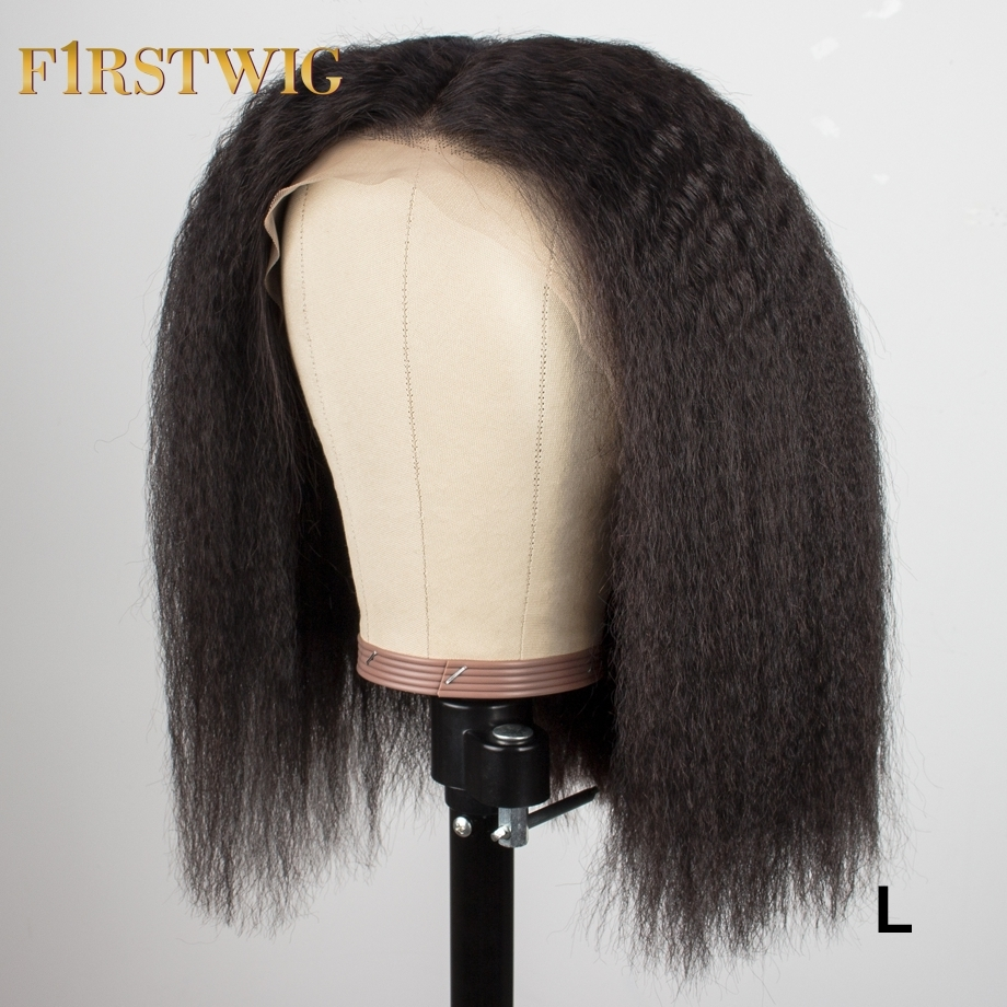 Lace Front Human Remy Hair Wigs Kinky Straight Brazilian Bob Wig Pre Plucked For Black Women 13x4 130/150% Low Ratio FirstWig