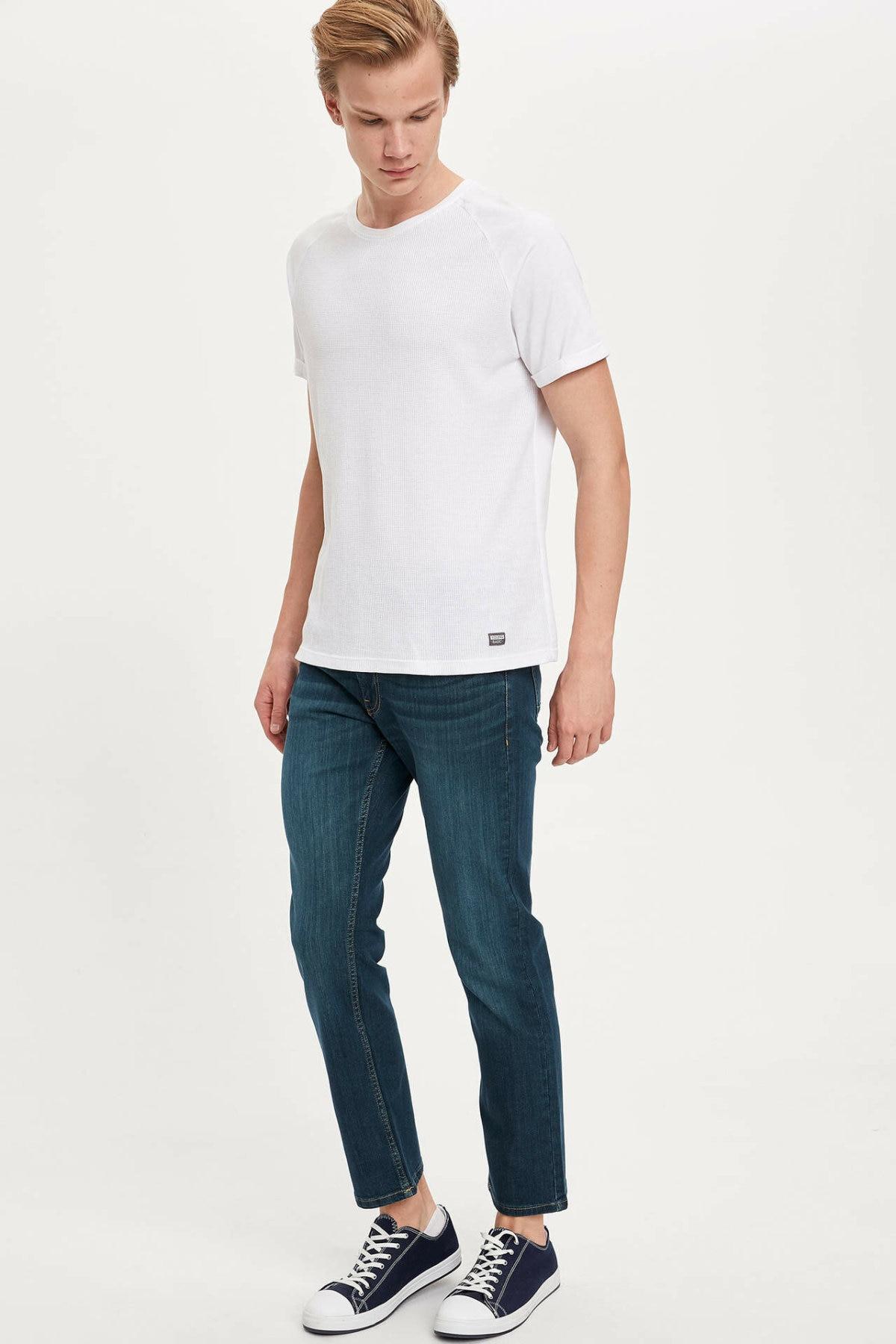 DeFacto Man Blue Denim Jeans Men Casual Straight Denim Trousers Men's Mid-waist Bottom Jeans-M7337AZ20SP
