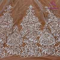 La Belleza 75cm de ancho de blanco Bilateral encaje con cuentas y lentejuelas embellecedor precioso encaje para accesorios de novia 1 yarda