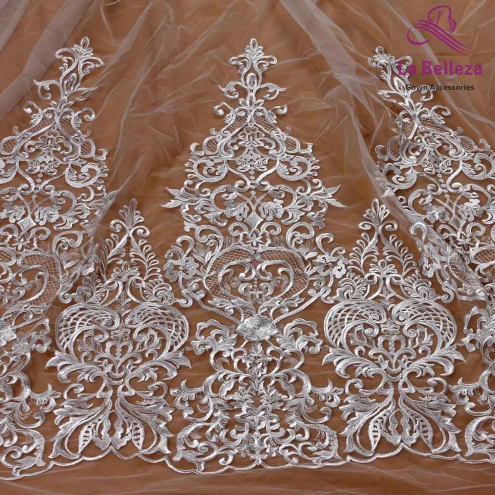 La Belleza 75cm largeur blanc cassé bilatéral perlé paillettes dentelle garniture magnifique dentelle garniture pour accessoires de mariée 1 yard