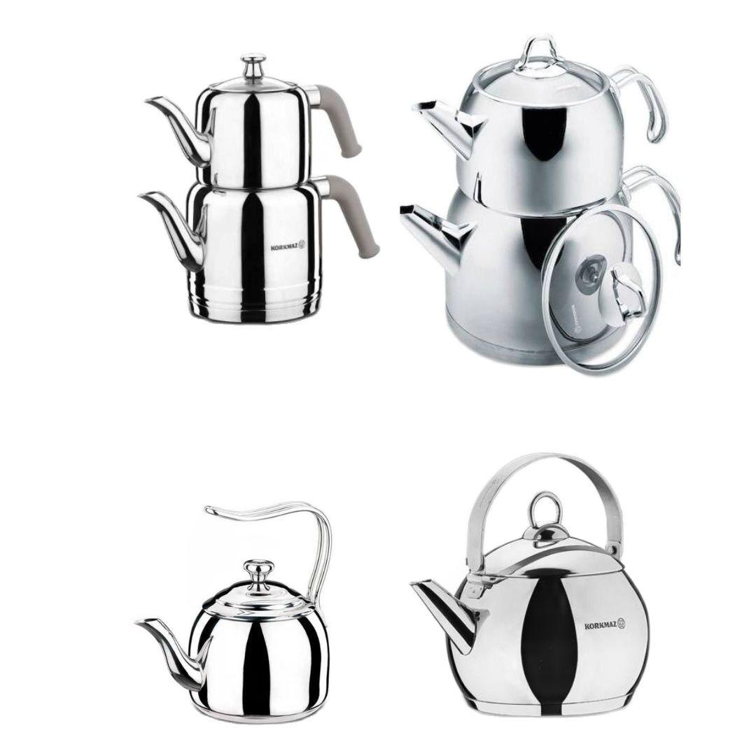 Korkmaz demlik setleri ve su isıtıcıları, paslanmaz çelik indüksiyon ocak gaz sobası, türk çay, kahve SU ISITICI bitkisel