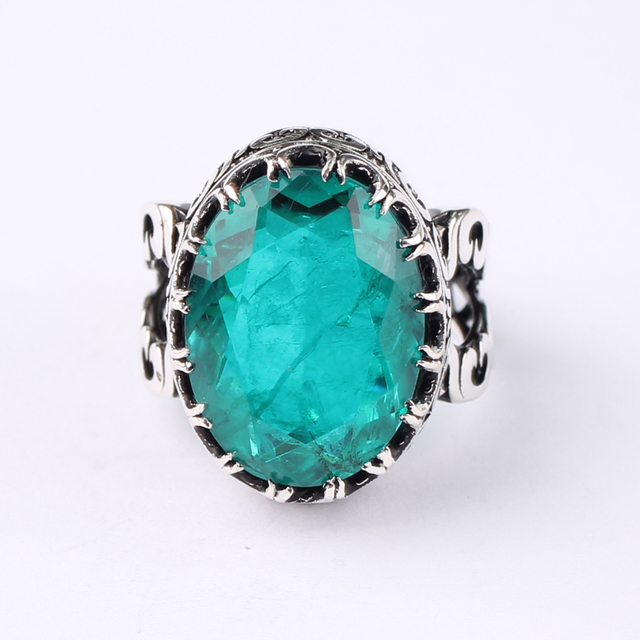 Handgemaakte Heren Zilver Donkergroen Toermalijn Ring, Groene Grote 925 Zilveren Ring, Zilveren Handgemaakte Ovale Paraiba Toermalijn Ring