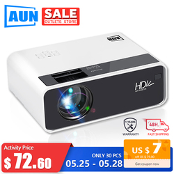 AUN proyector HD D60 | Resolución de 1280x720 MINI proyector LED de vídeo 3D para cine en casa Full HD HDMI (opcional Android WIFI D60S)
