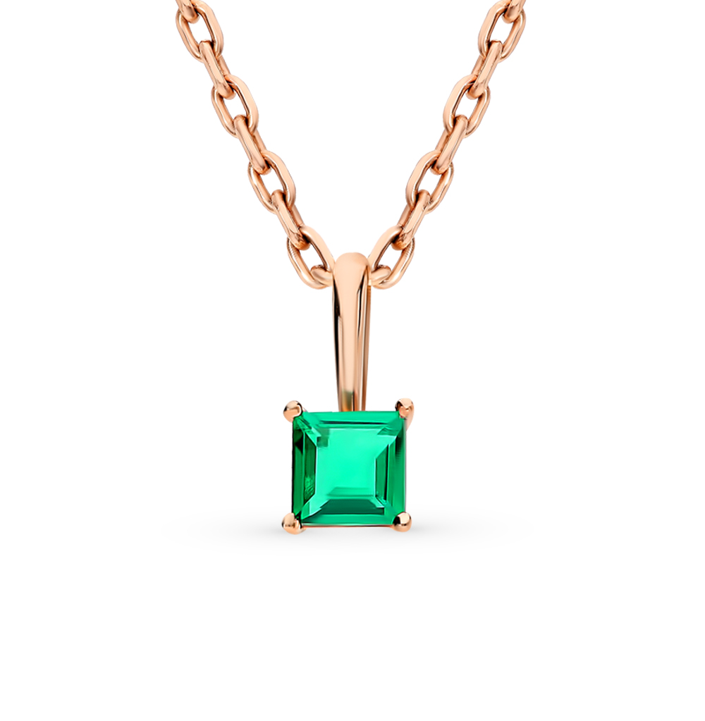 Gold Pendant With Emerald SUNLIGHT Test 585