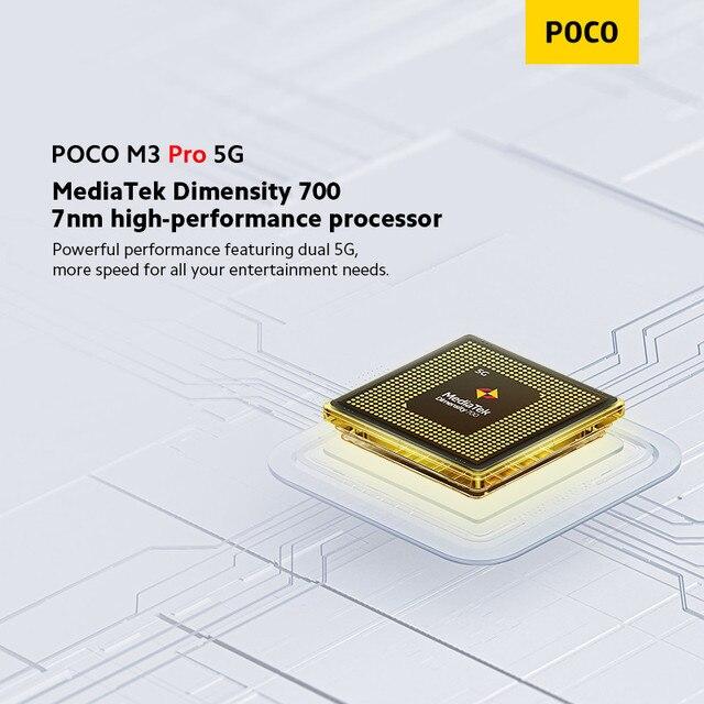 "Global Version POCO M3 Pro 5G Cellphone 64 /128GB ROM Dimensity 700 Octa Core 6.5"" 90Hz Display 48MP Triple Camera 5000mAh NFC 3"