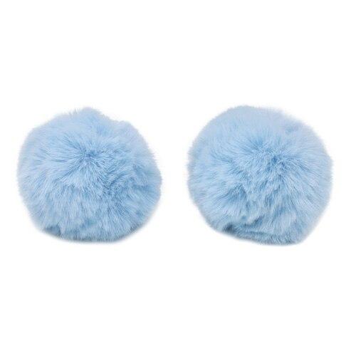 Pompon Made Of Artificial Fur (rabbit), D-8cm, 2 Pcs/pack (F Blue)