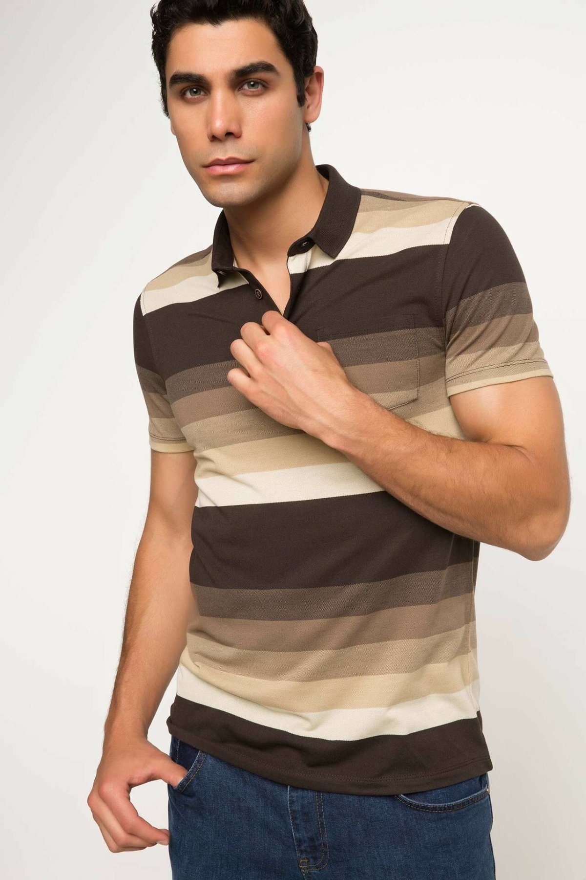 DeFacto Man Fashion Polo Shirt Summer Male Casual Striped Short Sleeves Men's Comfort Loose Tops New -H8733AZ17SM