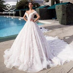 Image 1 - Swanskirt Sweetheart Ball gown Wedding Dress Off the Shoulder Beaded Appliques 3D Flowers Princess Bride Vestido de Noiva K175