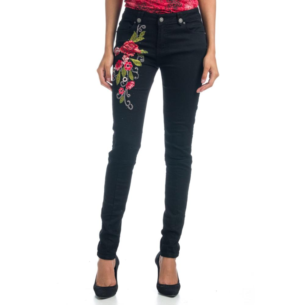 KOROSHI PANTS LONG WITH EMBROIDERY DE FLOWER WOMAN