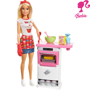 Barbie Brand Pastry Chef Baby and Oven Play Set FHP57 fashion girl child baby toys birthday gifts for children are