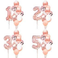 12 шт. номер Фольга розово-золотые латексные шары Happy День рождения украшения для детей для маленьких девочек 1st 1 2 3 4 5 6 7 8 9 один год