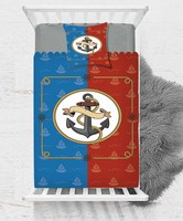 Else Blue Red Anchor Sea Baby Boy Kids Children 3d Print Single Bedspread Bed Cover Gift Combine Pillow Cover