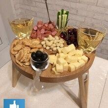 Винный столик Винница. (Столик для вина менажница из дерева дуб). Подарок Свадьба деревянная, День рождения, юбилей, праздник