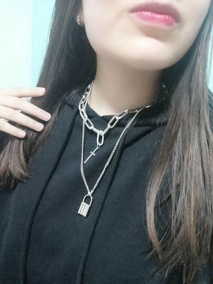 Layered Chain Necklace with Cross Pendant E-girl Pastel gothic photo review