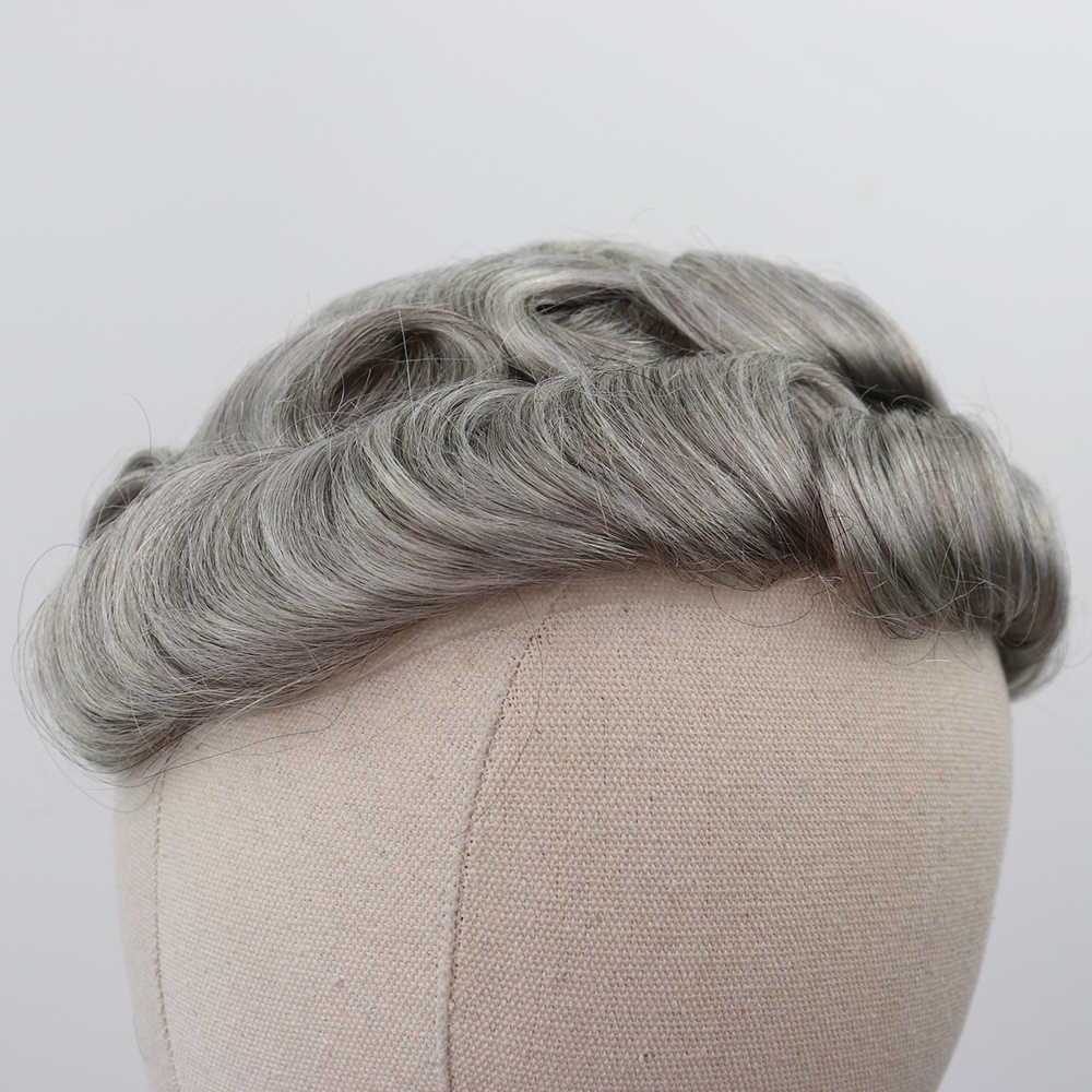 YY peruki tupecik dla mężczyzn wymiana włosów ludzkich szwajcarska koronka z PU peruka dla mężczyzn 1B 80% szary kolor mieszane naturalne czarne kręcone 6 Cal
