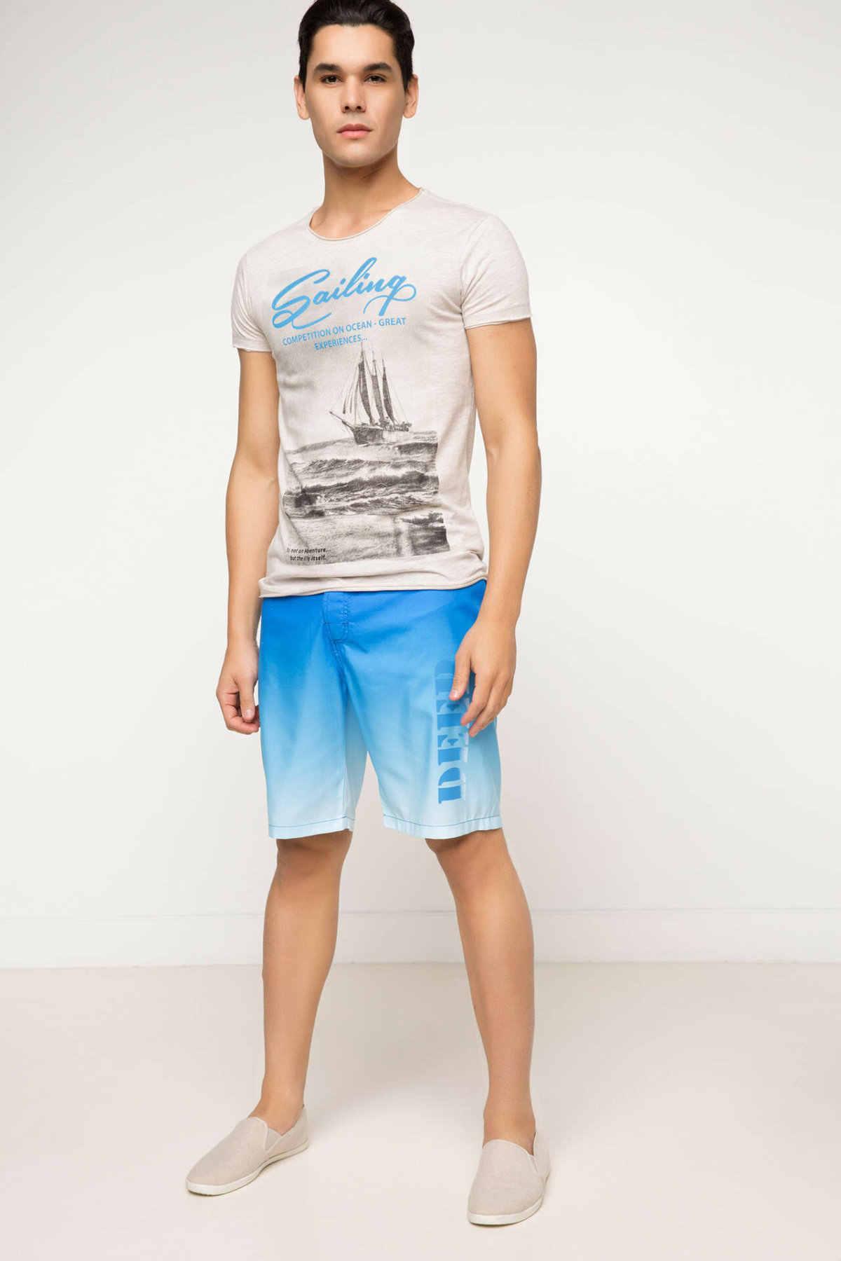 Defacto Zomer Man Geweven Zwemmen Korte Mannelijke Casual Gradient Blue Korte Broek Losse Beach Swim Nieuwe-G7322AZ17HS