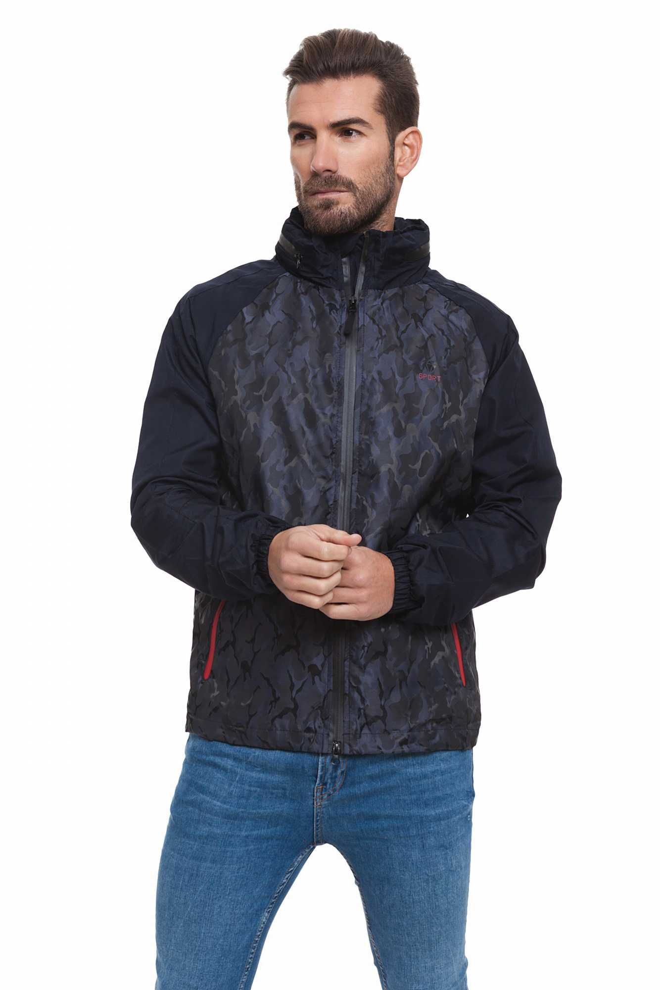 Born Rich Jacket For Men FABREGAS With Hoodie And Zipper Length Dark Blue Causal BR2K111097AA2BRC-2