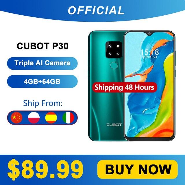 "Cubot P30 Smartphone 6.3 ""ואטארדרוף מסך 2340x1080p 4GB + 64GB אנדרואיד 9.0 עוגת Helio p23 AI אחורי לשלושה מצלמות פנים מזהה 4000mAh"