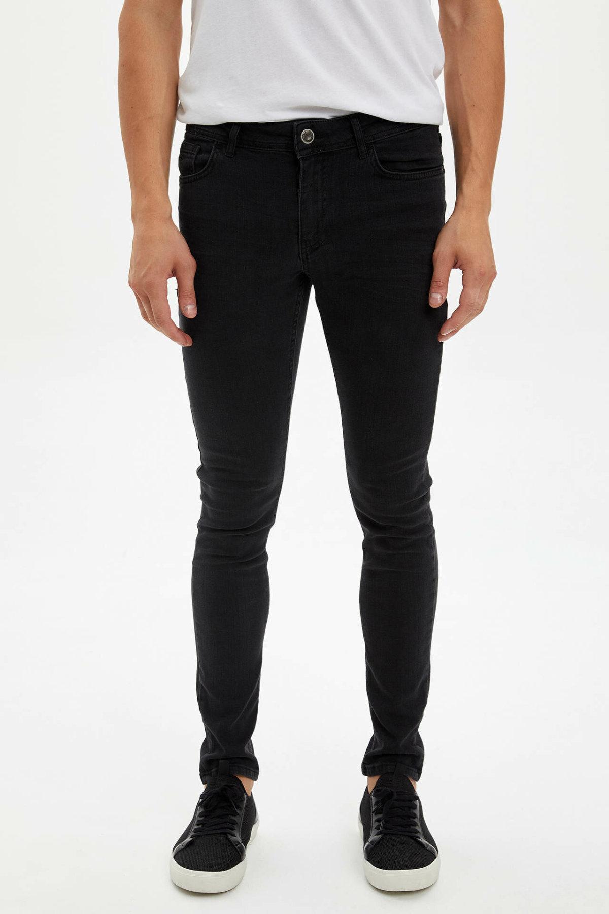 DeFacto Man Fashion Black Trousers Jeans Casual Classic Denim Jeans Casual Skinny Elasticity Pants Male -L6671AZ19AU