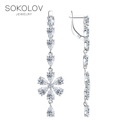 Drop Earrings With Stones With Stones With Stones With Stones With Stones SOKOLOV Silver Fashion Jewelry Silver 925 Women's/men's, Male/female