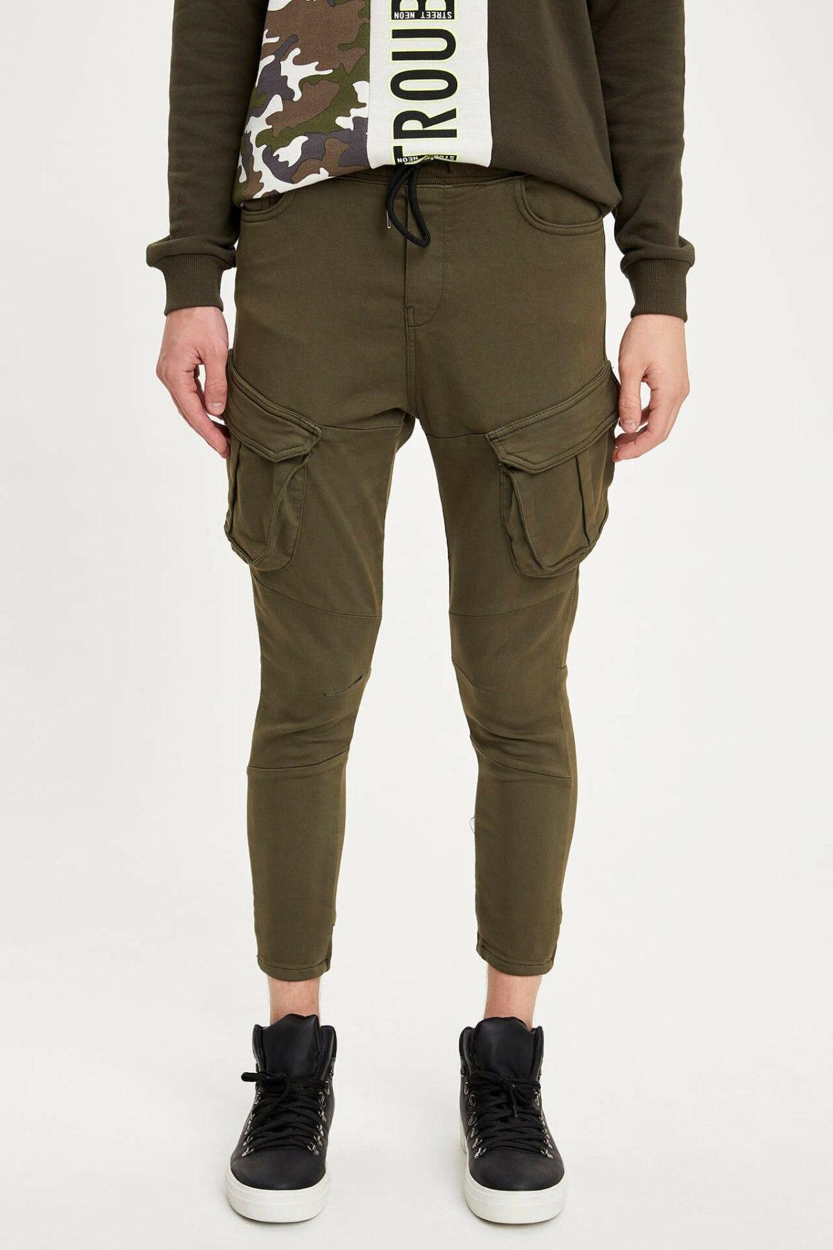DeFacto Man Autumn Solid Color Pencil Pants Big Pockers Design Men Cargo Pants Male Casual Bottoms Trousers-M6951AZ19AU
