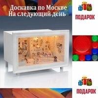 Doll House furniture 3D DIY miniature model + 3D lamp Wooden dollhouse K 002
