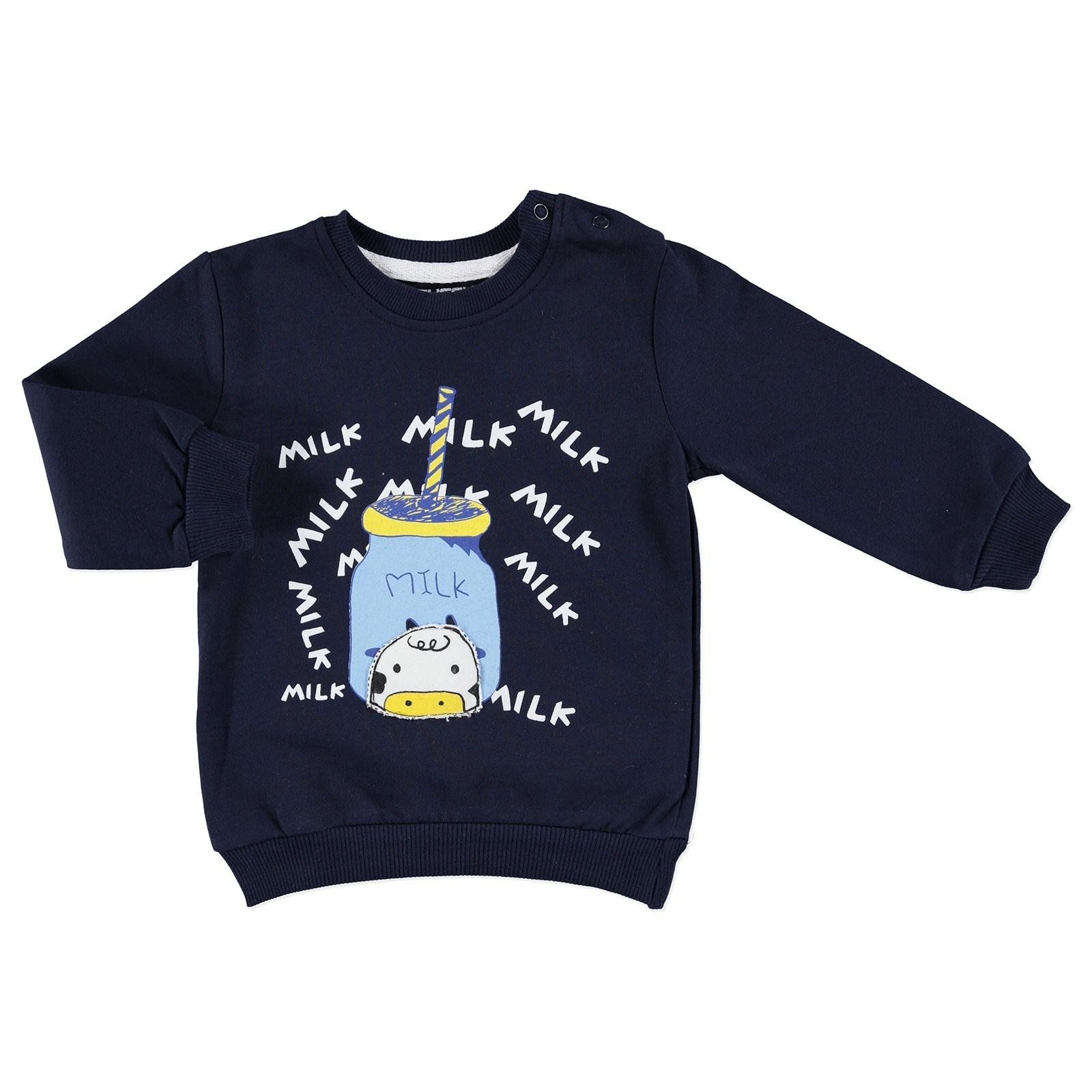 Ebebek Tuffy Fresh Milk Printed Baby Boy Sweatshirt