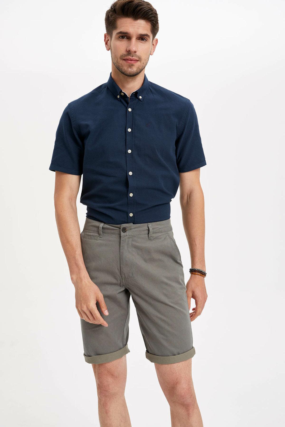 DeFacto Man Summer Casual Shorts Men Mid-waist Straight Bottom Shorts Male Bermuda Short-K4207AZ19SM