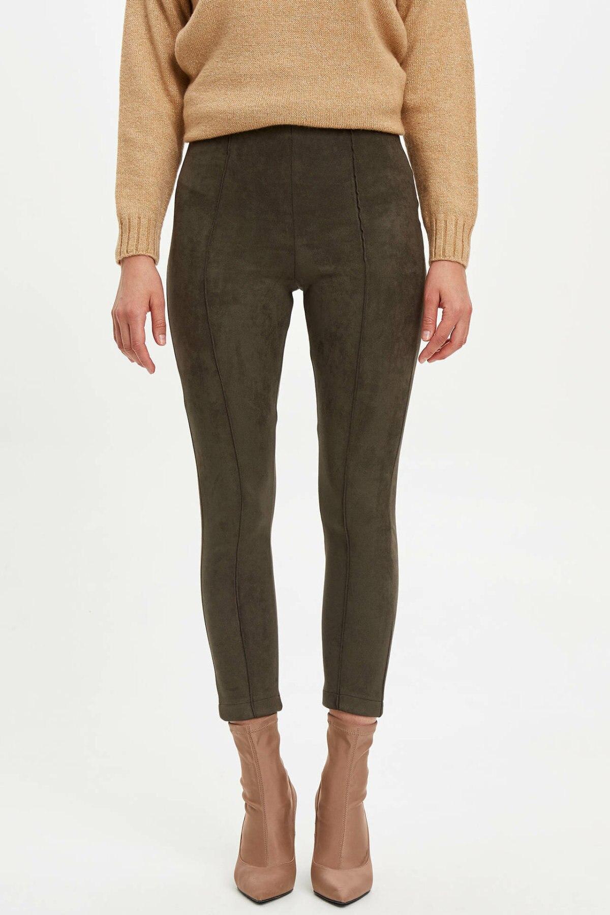 DeFacto Simple Fashion Women Slim Trousers Female Leggings Pants For Women's Casual Solid Leisure Crop Pants -M7438AZ19AU