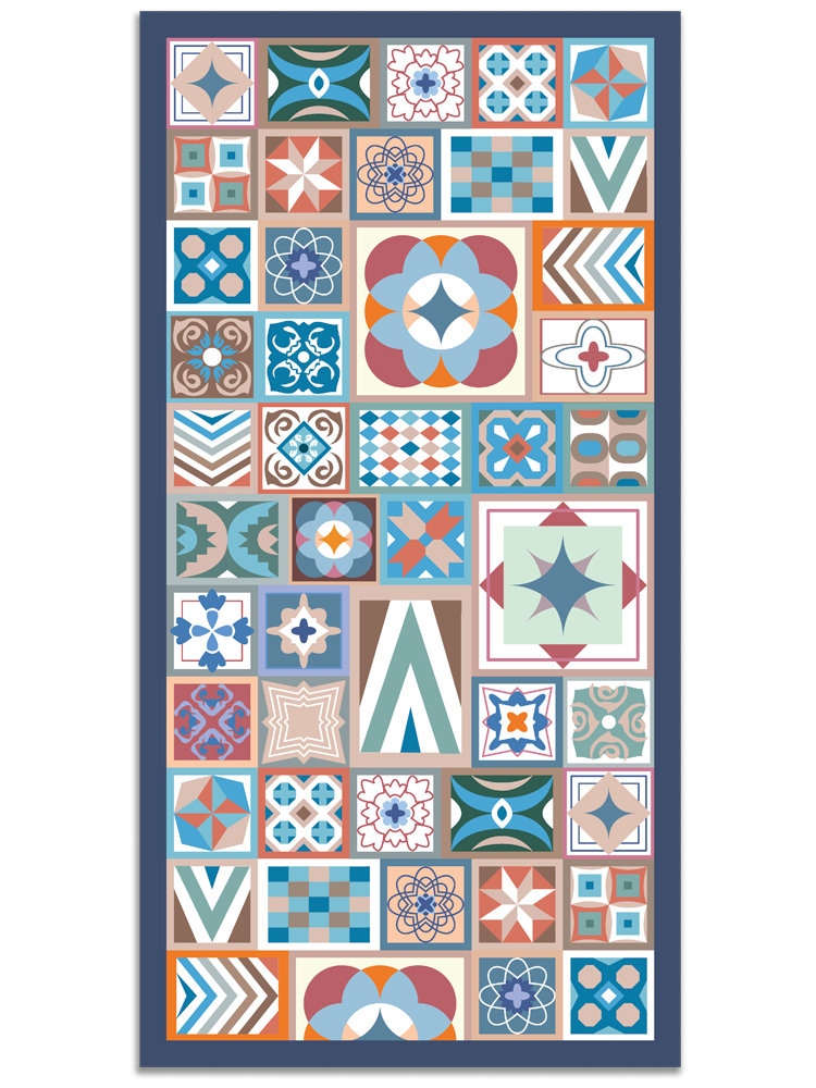 Panorama® Vinyl Rug Printed With Hydraulic Design In Multicolour Colour | Kitchen Carpet | Living Room Rug | XXL Rugs | PVC Rugs…