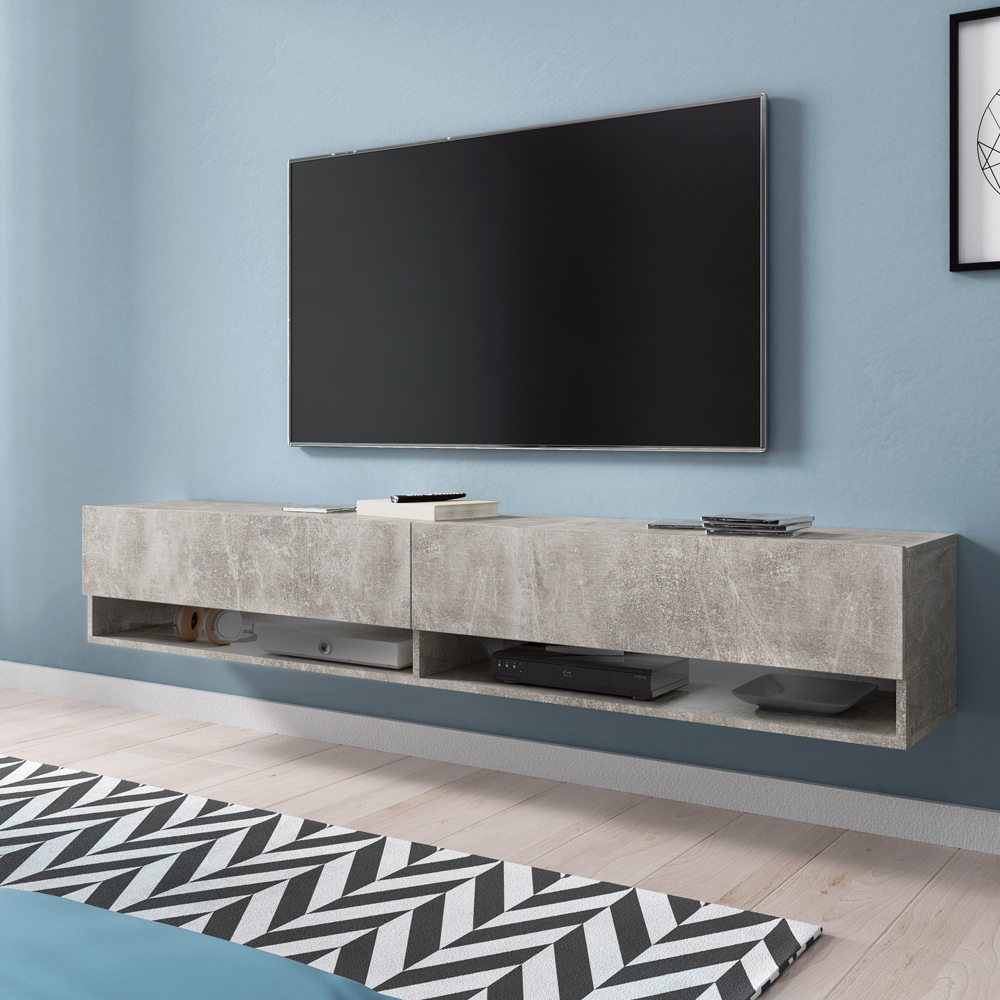 Selsey WANDER -meuble TV moderne (180 cm/béton gris, sans LED) 3