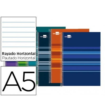 SPIRAL NOTEBOOK LEADERPAPER A5 MICRO CLASSIC LINED TOP 160H 60 GR HORIZONTAL 5 BANDS 6 DRILLS ASSORTED COLORS