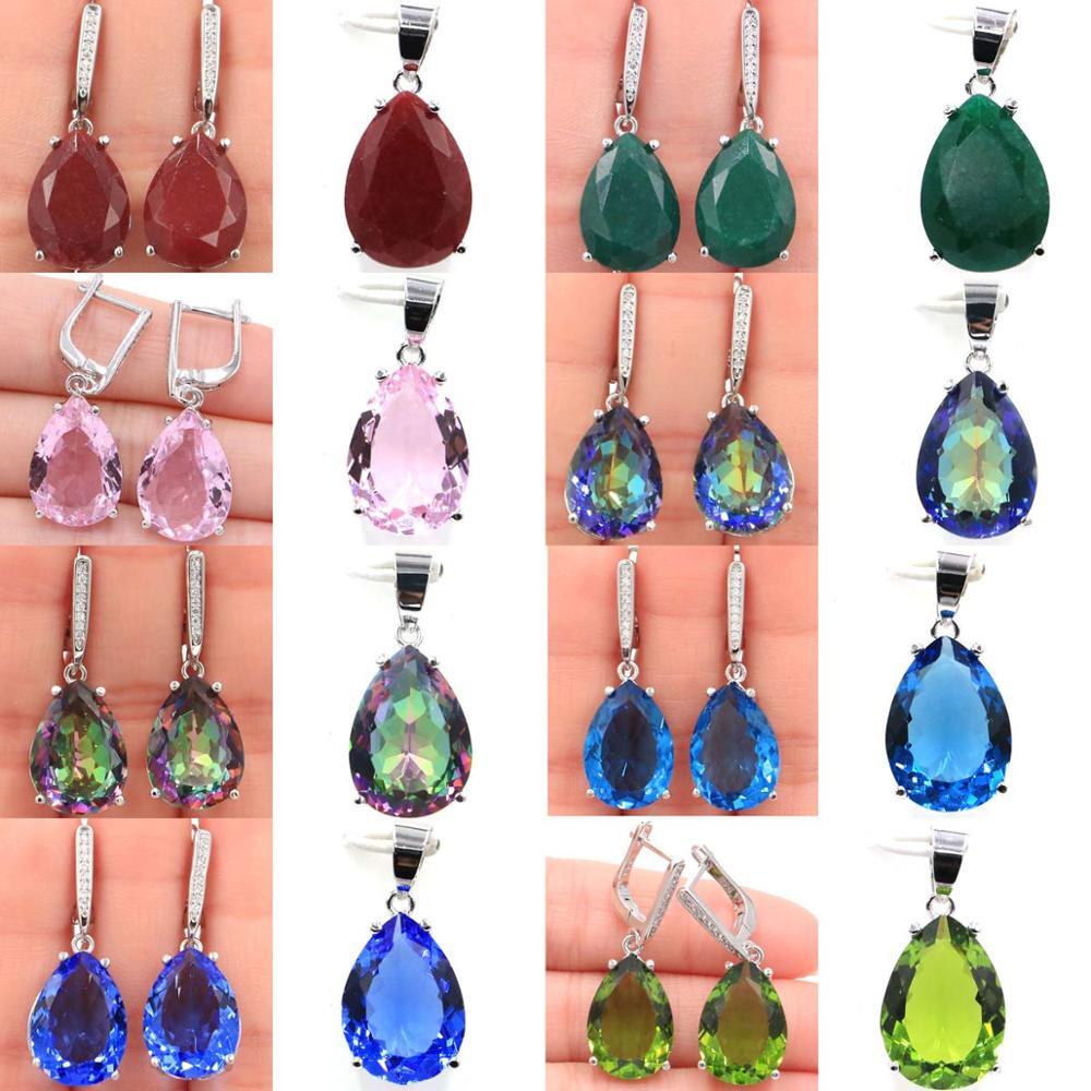 35x13&27x13mm SheCrown Hot Sell 18x13mm Ruby Emerald Tanzanite Kunzite Peridot Mystic Topaz 925 Silver Pendant & Earrings