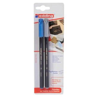 Edding M. keçeli 2 шт. ручка Серебристая и синяя, маркеры, bullet journal, кисть, зажим, из Турции, быстрая доставка
