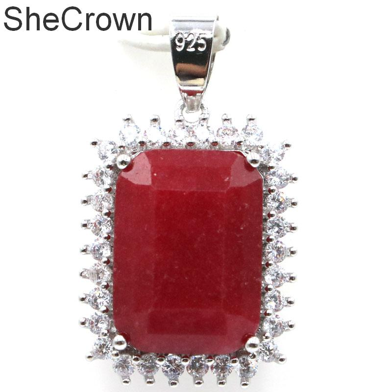 33x14mm Beautiful 18x13mm Real Red Ruby White CZ Ladies Present Silver Pendant