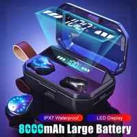 8000mAh TWS 9D Stereo Hifi Bluetooth 5.0 Auricolari Display A LED IPX7 Impermeabile Cuffie Senza Fili Cuffie Con Microfono Chiave di Tocco